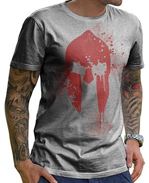 Review for stylotex herren t shirt spartan helmet mit hochwertigem print in aufwendiger handarbeit i cooles herren t shirt basic heather baumwolle xxxl i rundhals kurzarm regular fit i trendige herrenmode