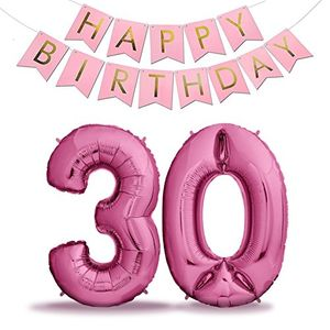 Top zenball pinke luftballons geburtstag xxl 101cm pink set mit girlande riesen folienballons in 40 geburtstagsdeko ideale deko zahl 30 pink