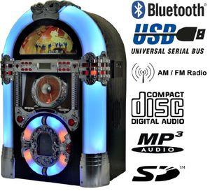Top jukebox multimedia musikbox legend 501 bluetooth usb sd mp3 cd radio