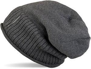 stylebreaker warme feinstrick beanie mütze mit sehr weichem fleece innenfutter unisex 04024065 farbedunkelgrau