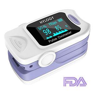 Hylogy Oxímetro de Pulso Oxígeno Digital de Sangre con Cable para Llevar, Aaprobado por la FDA y la CE (Blanco) Guía