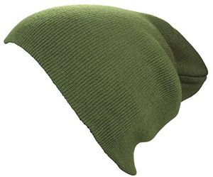 deals for - xxl long beanie basic flap in olive damenmütze herrenmütze winter mütze strickmütze