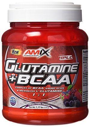 Reseña Amix Glutamine + BCAA 500 gr - frutas del bosque (glutamina + bcaas) comparación