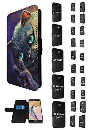 cellbell ltd 003841 smiling cheshire cat alice painting design samsung galaxy s7 edge g930 tpu leder brieftasche hülle flip cover book wallet credit card kartenhalter case