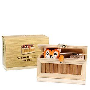 """einzigartige kreative musikbox aus holz """"useless box"""" von evaky aufschrift """"dont touch"""" tiger in holzkiste geschenk und juxartikel für erwachsene und kinder spielzeug"""