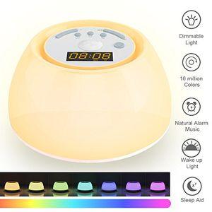 ofertas para - wake up light luces despertador simulación de amanecer con modo de luz de color por 120 horas función de luz de ayuda al sueño,4 sonido de alarma natural, 3 modos de iluminación 7 colores