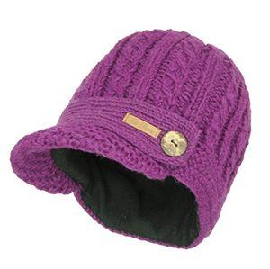 mcron wollmütze elisha lila für damen warm gefüttert mit weichem fleece strickmütze mit schirm wintermütze