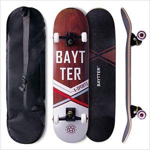 deals for - baytter® skateboard komplett board funboard 79x20cm mit 7 lagigem ahornholz und abec 11 kugellager 95a rollenhärte für kinder jugendliche und erwachsene 3 farben wählbar holzfarbig