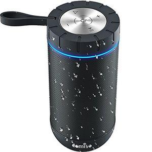 Review for bluetooth lautsprecher comiso ipx5 wasserdicht lautsprecher box mit dual treiber besserem bass 20 m reichweite kabelloser lautsprecher mit eingebauten mikrofon für iphone samsung schwarz