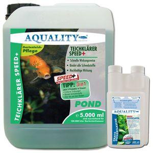 aquality teichklärer speed 5000 ml gratis lieferung innerhalb deutschlands wirkt schnell und sicher entfernt trübungen und bindet schwebstoffe im gartenteich nachhaltige wirkung für kristallklares teichwasser teichklar