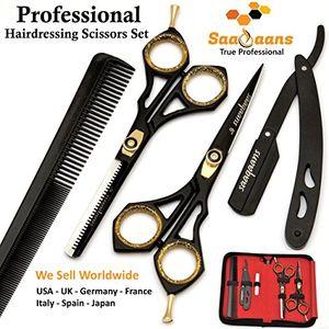 ofertas para - saaqaans sqkit tijeras de peluquería barbero profesional conjunto acero inoxidable de alta calidad sharp razor edge 6 pulgadas tijeras de peluquero perfecto para corte de pelo con estilo recortar tu barba y bigote