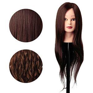 Calientes Luckyfine 30% cabello real marrón Jefe de entrenamiento/maniquí de pelo con abrazadera día Ventajas Desventajas Padres