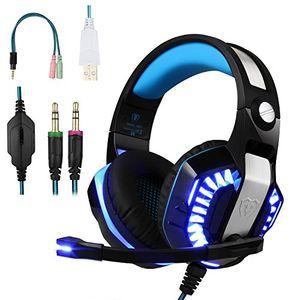 turnraise gaming kopfhörer pc computer über ohr stereo kopfhörer mit mikrofon für ps4 psp laptop smartphone blau