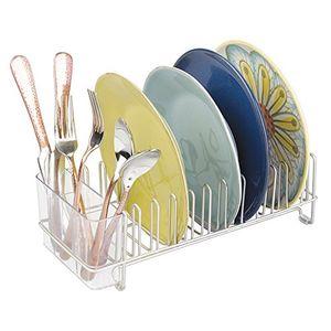 deals for - mdesign abtropfgestell für die küchenspüle abtropfgitter mit besteckhalter zum trocknen von gläsern besteck und tellern platzsparende geschirrablage aus metall und kunststoff silber