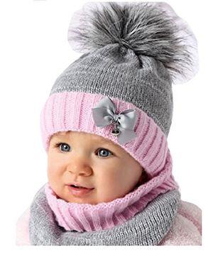Review for baby winter mütze mädchen babymütze lopp größe 4446 graurosa 6 bis 18 monate alt mit glitzer faden 44 46 grau rosa