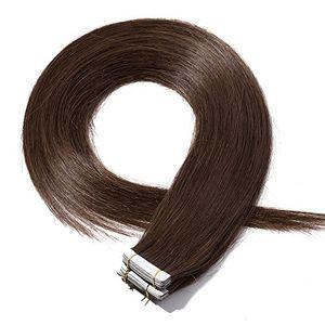 ofertas para - extensiones de cabello natural adhesivas tape in hair extensions pelo humano 100 remy 20 piezas por paquete 4 marrón medio40cm 50g