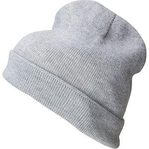 deals for - beanie wintermütze feinstrick herren damen breiter umschlag für höheren tragekomfort grau