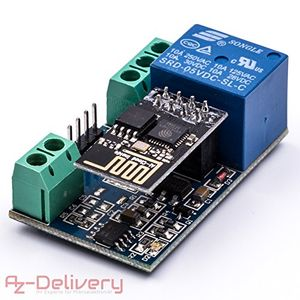 azdelivery esp8266 01s esp 01 mit relais adapter wlan wifi modul für arduino und raspberry pi mit gratis ebook