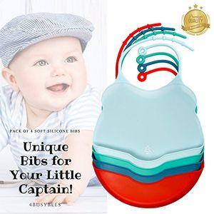 Comprar Paquete de 4 Babero Silicona Bebé Colección SAILOR - Baberos impermeables - Baberos Bebé, Baberos Recién Nacido - Precioso Regalo para Bebé Niño - Apto para Lavavajillas - Ideal para Viajar - Flexible Guía
