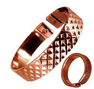 Angebote für -the online bazaar stilvoll gekerbter quadrate design kupfer magnetisch band mit gefüttert finish magnetisch kupfer ring kombi geschenkset medium ring size 19 21mm