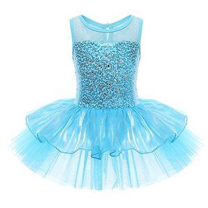 deals for - iefiel mädchen kleid ballettkleid kinder ballett trikot ballettanzug mit tütü röckchen pailletten kleid in weiß rosa türkis 134 140 blau
