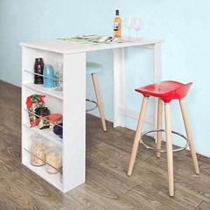 sobuy bartisch beistelltisch stehtisch küchentheke küchenbartisch mit 3 regalfächern tresen weiß aus lackiertem mdf fwt17 w