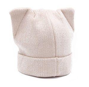 gwell damen katzenohren warme strickmütze wollmütze beanie wintermütze kappe aus wolle und kaschmir für frauen mädchen onesize beige