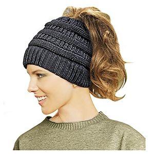Angebote für -lamdgbway frauen stricken hut winter mütze strickmütze strecken pferdeschwanz brötchen hut schwarz