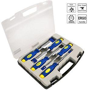 deals for - sr stechbeitelsatz 5 stück 6 12 20 25 32mm mehrkomponenten hüllen professional im transparenten koffer