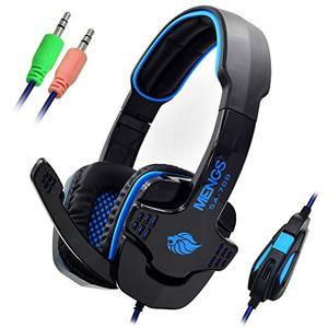 deals for - mengs® 22m kabel stereo headset sa708 pc gaming 35 mm klinkenstecker kopfhörer und mikrofon mit weichen ohrpolster verdrahtet blau