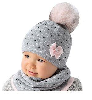 baby winter mütze mädchen babymütze lopp größe 4446 graurosa 6 bis 18 monate alt 44 46 grau rosa