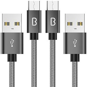 micro usb kabel beikell 2 pack 66ft2m 24a android nylon usb ladekabel geflochtenes für android smartphones samsung htc sony nexus und mehr grau