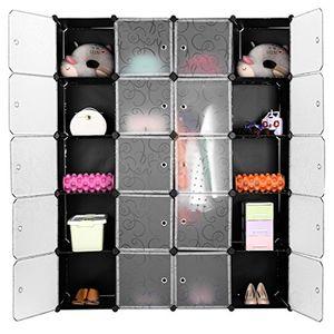langria regalsystem stufenregal 20 kubus lagerregal kleiderschrank garderobe für kleidung schuhe und spielzeug schwarz und transluzenten