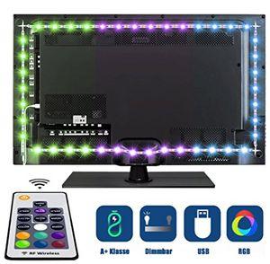 Angebote für -tobbiheim led tv hintergrundbeleuchtung fernseher leiste einfach installation 2 meter 40cm260cm2 rgb usb betrieben mit wireless rf fernbedienung für 40 bis 60 zoll htdv fernseher monitor