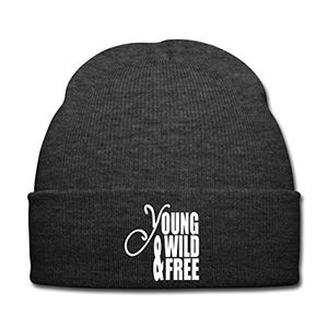 Hot spreadshirt young wild and free wintermütze asphalt
