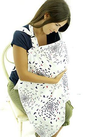 Cubierta para lactancia - Delantal de amamantamiento transpirable – Diseño de pájaros blancos - Alimentación del bebé Guía