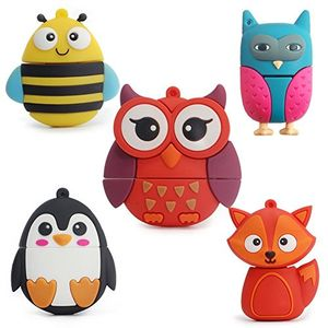 Review for leizhan 8gb usb stick 20 silikon nette kleine tiere neuheit memory stick kinder geschenk externe pendrives fox bee eule pinguin flash disk 5 teile satz