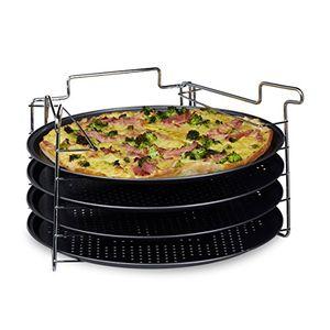 deals for - relaxdays pizzablech im 4er set hbt 20 x 32 x 32 cm pizzabäcker set mit 4 backblechen und ständer als pizza backblech und flammkuchen blech rundes pizzabackblech mit antihaftbeschichtung anthrazit