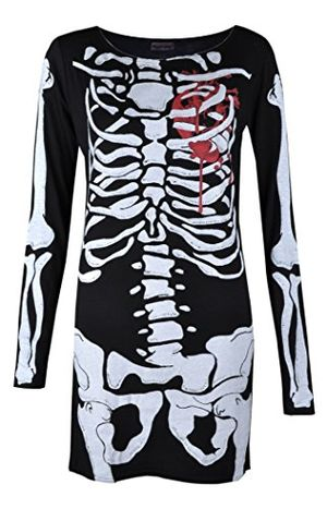 womens ladies halloween skeleton skull bone red blood heart girls bodycon costume novelty party dress tunic plus size 8 10 12 14 16 18 20 16 18 red blood heart by vitageclothing
