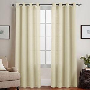 topick sheer vorhang mit ösen transparent gardine 2 stücke gaze paarig fensterschal vorhänge 245 cm x 135 cm h x b beige
