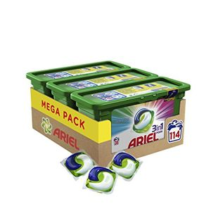 Ariel 3en1 PODS Detergente en Cápsulas Superconcentrado: Limpia y Mantiene el Brillo del Color - 114 Lavados (3 x 38) ofertas de hoy