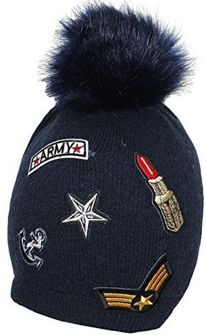 Angebote für -mevina strickmütze damen bommel mütze mit patches und wolle kunstfellbommel aufnäher wintermütze mütze herbst winter dunkelblau m2204