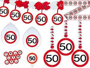 Angebote für -23 tlg partyset 50 geburtstag dekoset dekobox verkehrschild girlanden luftballons