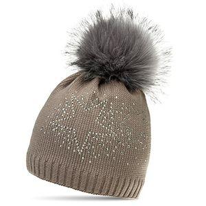 Angebote für -caspar mu167 damen fein strick winter mütze mit xl fellbommel und glitzer strass stern farbetaupegrößeone size