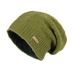 mcron wollmütze lina olivgrün für damen mütze beanie slouch strickmütze wintermütze warm gefüttert