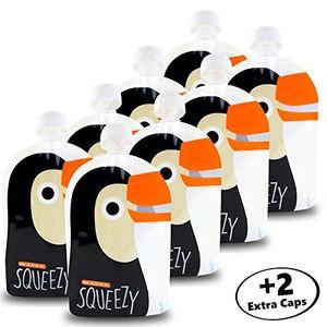 Happy Squeezy (8 bolsas) bolsas de comida para bebés reutilizables - ideal para batidos de fruta caseros, papilla para bebés, yogurt, 170ml, sin BPA, estanco Hot oferta