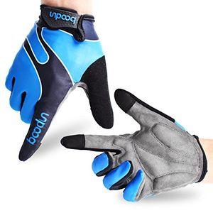 Cheap fahrradhandschuhe radsporthandschuhe rutschfeste und stoßdämpfende mountainbike handschuhe mit signalfarbe geeiget für radsport mtb road race downhill wandern und andere sports unisex herren damen blau l