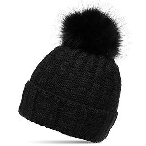deals for - caspar mu174 damen winter mütze strickmütze bommelmütze mit großem fellbommel farbeschwarzgrößeone size