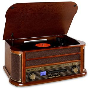 auna belle epoque 1908 • retroanlage • stereoanlage • plattenspieler • bluetooth • stereo lautsprecher • radio tuner • ukwmw empfänger • frequenzbandanzeige • usb • cd player • kassettendeck • braun