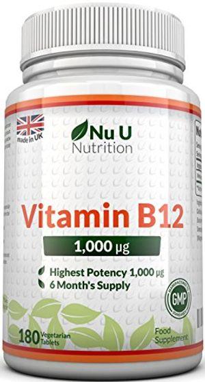 Top Vitamina B12 - Meticobalamina - 1000 mcg - 180 Comprimidos (Suministro para 6 meses) - Complemento alimenticio de Nu U Nutrition guía del comprador